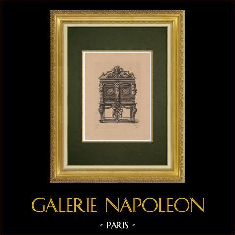 Dekorativ Konst - Inredning - Möbel (Le Pautre) | Original etsning på bister papper graverade av Pequegnot efter Le Pautre. 1860
