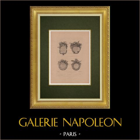 Arts Décoratifs - Décorations (Ranson) | Gravure à l'eau-forte originale sur papier bistre gravée par Pequegnot d'après Ranson. 1860