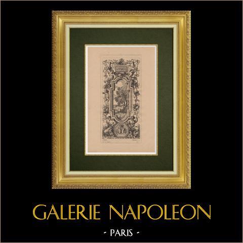 Arts Décoratifs - Décorations (Vouët) | Gravure à l'eau-forte originale sur papier bistre gravée par Pequegnot d'après Vouët. 1860