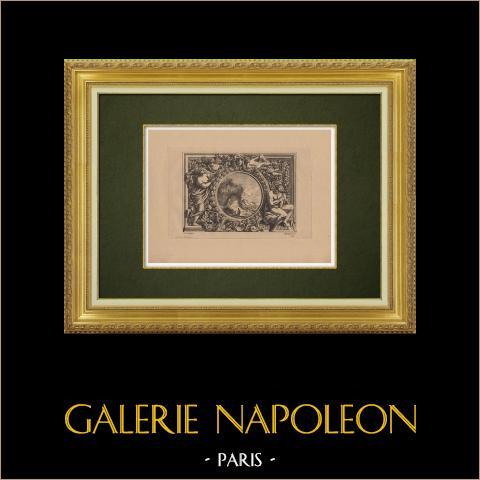 Arts Décoratifs - Décorations (Le  Pautre) | Gravure à l'eau-forte originale sur papier bistre gravée par Pequegnot d'après Le  Pautre. 1860