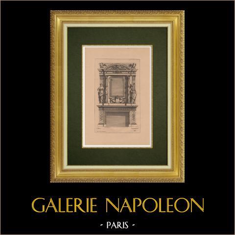 Arts Décoratifs - Cheminée (Marot) | Gravure à l'eau-forte originale sur papier bistre gravée par Pequegnot d'après Marot. 1860