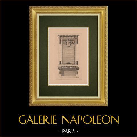 Arts Décoratifs - Cheminée (Le Canu) | Gravure à l'eau-forte originale sur papier bistre gravée par Pequegnot d'après Le Canu. 1860