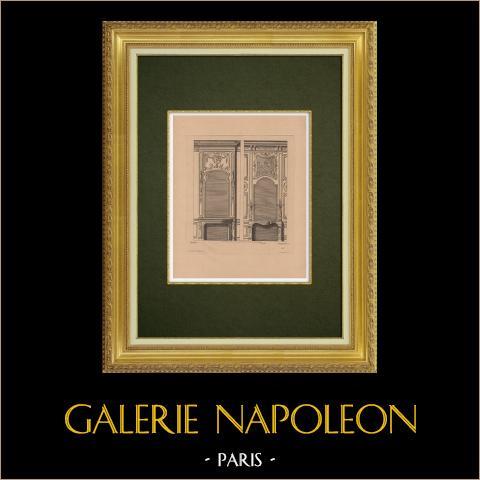 Arts Décoratifs - Cheminée (Blondel) | Gravure à l'eau-forte originale sur papier bistre gravée par Pequegnot d'après Blondel. 1860
