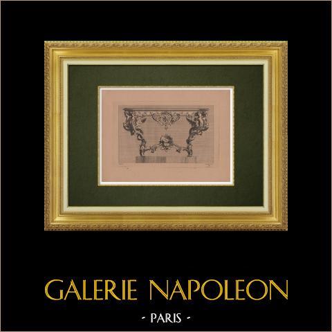 Dekorativ Konst - Inredning - Möbel (Pineau) | Original etsning på bister papper graverade av Pequegnot efter Pineau. 1860