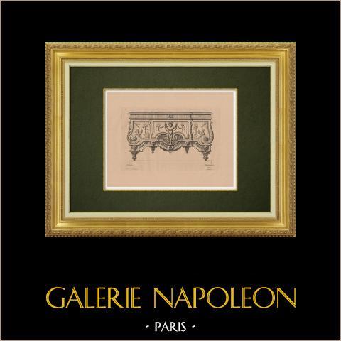 Dekorativ Konst - Inredning - Möbel (Bérain) | Original etsning på bister papper graverade av Pequegnot efter Bérain. 1860