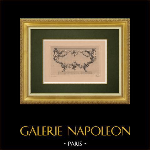 Dekorativ Konst - Inredning - Möbel (Picau) | Original etsning på bister papper graverade av Pequegnot efter Picau. 1860