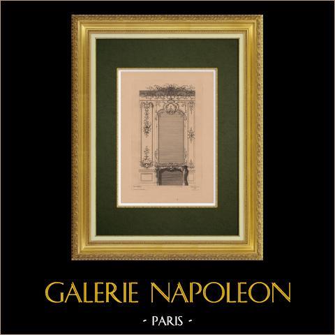 Arts Décoratifs - Cheminée (de Cuvilliers) | Gravure à l'eau-forte originale sur papier bistre gravée par Pequegnot d'après de Cuvilliers. 1860