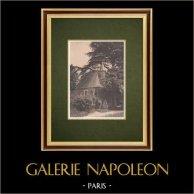 Bretagne - Manoir du Colombier à Hénon - Chapelle (France) | Héliogravure originale d'après Gravot. 1928
