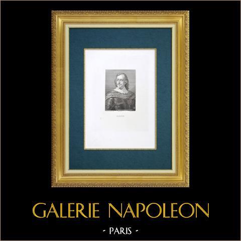Galleria Palatina, Florens - Porträtt av en okänd man | Original etsning graverade av Floridi efter Ecole de Sustermans. 1842