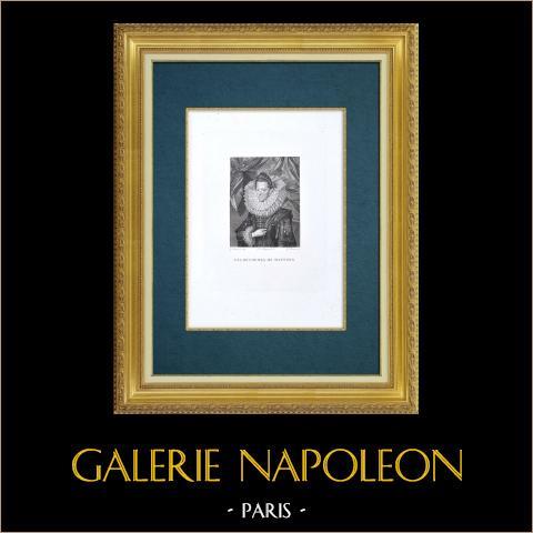 Galleria Palatina - Florens - Porträtt av Eleonora de' Medici (Frans Pourbus il Giovane) | Original etsning graverade av Silvani efter Frans Pourbus le Jeune. 1842