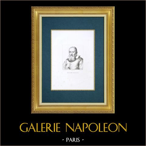 Galería Uffizi - Florencia - Retrato de Galileo Galilei (Justus Sustermans) | Grabado al aguafuerte original grabado por De Fournier según Sustermans. 1842