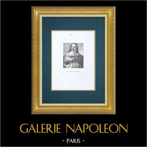 Galleria Palatina - Florens - Porträtt av Mattias de' Medici (Sustermans) | Original etsning graverade av Sanguinetti efter Sustermans. 1842