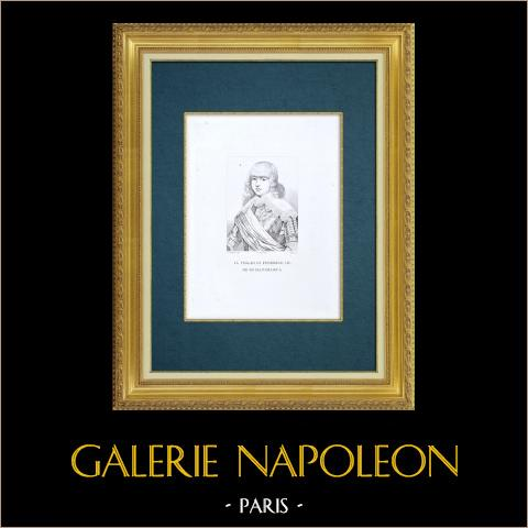 Galleria Palatina - Florencia - Retrato de Valdemar Kristian de Dinamarca (Sustermans) | Grabado al aguafuerte original grabado por Fedi según Sustermans. 1842