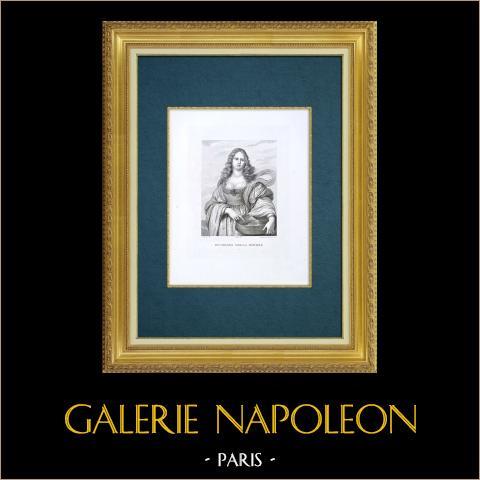 Galleria Palatina - Florencia - Retrato de Vittoria della Rovere (Sustermans) | Grabado al aguafuerte original grabado por Guadagnini según Sustermans. 1842