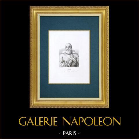 Galleria Palatina - Florens - Porträtt av Elia, Kapten av Tuscan galär (Sustermans) | Original etsning graverade av De Fournier efter Sustermans. 1842