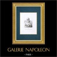 Galerie Palatine - Florence - Portrait d'Elia, Capitaine d'une galère Toscane (Sustermans) | Gravure à l'eau-forte originale gravée par De Fournier d'après Sustermans. 1842