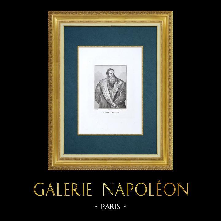 Gravures Anciennes & Dessins | Galerie Palatine - Florence - Portrait de Pierre l'Arétin (Le Titien) | Gravure à l'eau-forte | 1842