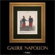 Karikatyr - Fransk Armé - Napoleon III - Två rader knappar att polera!