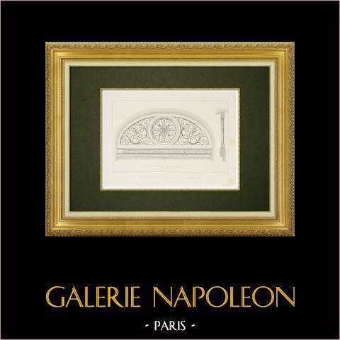 Vista de París - Puerta de un hotel - VI Distrito de París (Francia) | Grabado original en talla dulce sobre acero dibujado por Salard, grabado por Soudain. 1863