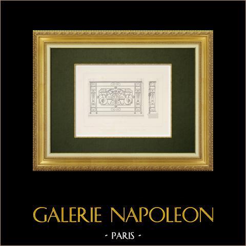 Vista de París - Hotel - Herrería - Balcón- VI Distrito de París (Francia) | Grabado original en talla dulce sobre acero dibujado por Salard, grabado por Soudain. 1863