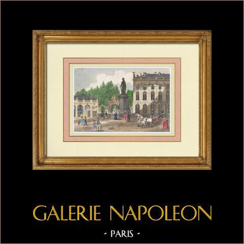 Vista de Nancy - Place Royale - Estatua de Stanislas - Meurthe y Mosela (Francia) | Grabado original en talla dulce sobre acero. Anónimo. Agua-coloreado a mano. 1837