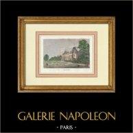 Château de Malmaison - Napoléon Bonaparte - Joséphine de Beauharnais (France)   Gravure originale en taille-douce sur acier. Anonyme. Aquarellée à la main. 1837