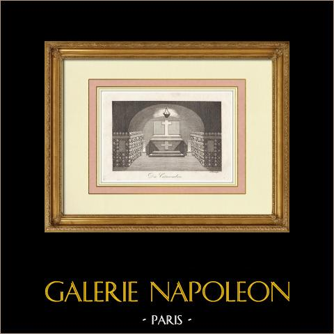 Catacumbas - XIV Distrito de París (Francia) | Grabado original en talla dulce sobre acero grabado por Neubauer. 1837