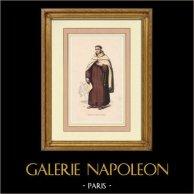 Trajes religiosos - Carmelita descalzo con un abrigo | Grabado xilográfico original. Anónimo. Agua-coloreado a mano. 1847