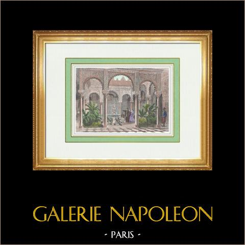 Bardo - Palazzo di Bey di Tunisi - Champ-de-Mars - Esposizione Universale di Parigi del 1867 | Incisione xilografica originale. Anonima. Acquerellata a mano. 1867