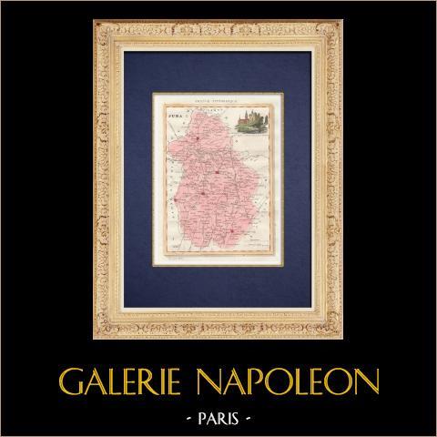 Mappa del Dipartimento - Giura - Jura - Franca Contea (Francia) | Stampa calcografica originale a bulino su acciaio disegnata da Monin, incisa da Laguillermie et Ramboz. Acquerellata a mano. 1835