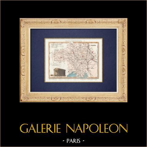 Kaart van het Departement - Gard - Languedoc-roussillon (Frankrijk) |