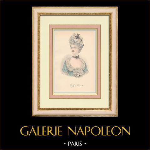 Huvudbonad - Kvinna - Ludvig XV av Frankrike - 18. Århundrade (Frankrike) | Original litografi. Anonym. 1880