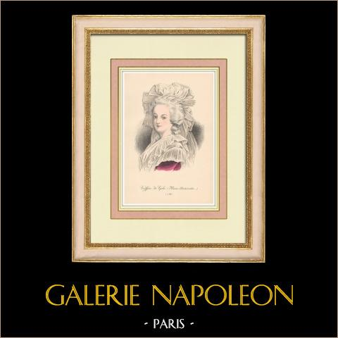 Gala huvudbonad - 1788 - Porträtt av Marie Antoinette (Frankrike) | Original litografi. Anonym. 1880
