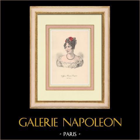 Huvudbonad - Kvinna - Första Kejsardömet - Porträtt av Mademoiselle Mars | Original litografi. Anonym. 1880
