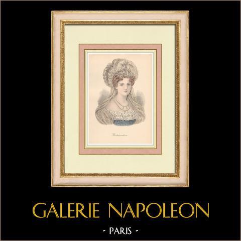 Huvudbonad - Kvinna - Restaurationen - Porträtt av Hertiginnan av Angouleme | Original litografi. Anonym. 1880