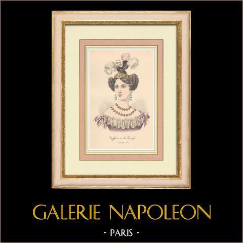 Coiffure à la Girafe - Huvudbonad - Kvinna - 1830 - 19. Århundrade (Frankrike) | Original litografi. Anonym. 1880