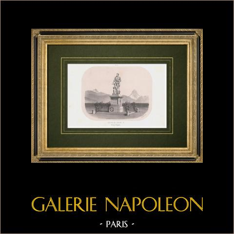 Vista de Pau - Estatua de Enrique IV - Place Royale - Pirineos Atlánticos (Francia) | Litografía original dibujado por Victor Petit, litografiado por Victor Petit. 1861