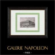 View of Paris - Palais Brongniart - Palais de la Bourse (2th Arrondissement of Paris) | Original steel engraving. Chamouin direxit. 1850