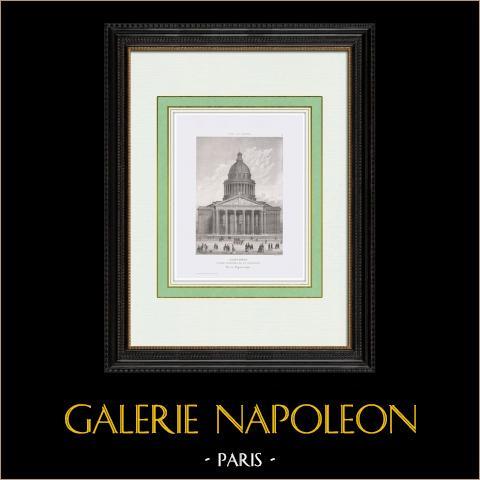 View of Paris - Le Panthéon (5th Century BC) | Original steel engraving. Chamouin direxit. 1850