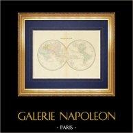 Geografía militar - Mapa - Globo terráqueo en dos Hemisferios - Mappemonde   Grabado original en talla dulce sobre acero. Anónimo. 1852