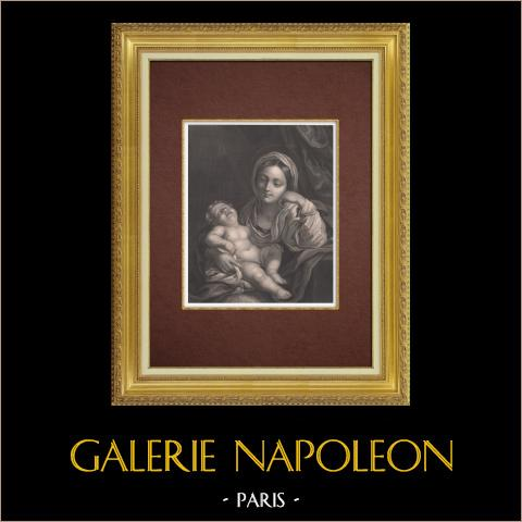 Jungfrau Maria und Jesuskind (Carlo Maratta) | Original stahlstich gestochen von Tourny nach Carlo Maratti ou Maratta. 1845