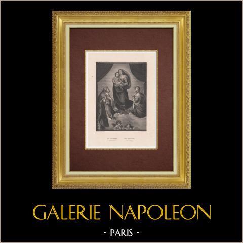 Sixtinische Madonna (Raffaello Sanzio auch Rafael) | Original stahlstich gestochen von French nach Raffaello Sanzio. 1845