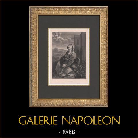 Santa Catarina (Guido Reni) | Gravura original em talho-doce sobre aço gravada por St Eve segundo Guido Reni. 1880