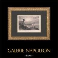 Vue de la Baie de Naples tôt le matin (William Callow) | Gravure originale en taille-douce sur acier gravée par Wallis d'après Callow. 1880