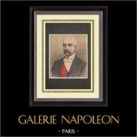 Portrait de Félix Faure - Président de la République française (1841-1899) | Gravure sur bois imprimée en chromotypographie. Anonyme. Texte au verso. 1895