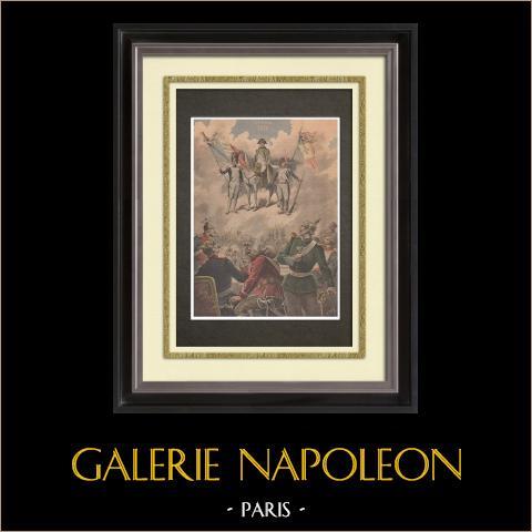 Berlino 1806 - Napoleone - Guerre napoleoniche - Tedeschi - Compleanno di 1870 | Incisione xilografica originale stampata in cromotipografia disegnata da Meyer. Retro stampato. 1895