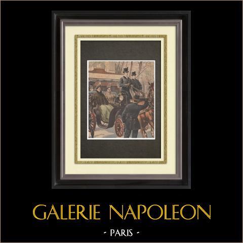 Visita di Guglielmina e Emma di Waldeck-Pyrmont a Parigi - 1898 | Incisione xilografica originale stampata in cromotipografia disegnata da Meaulle. Retro stampato. 1898