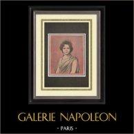 Fête nationale française - 14 Juillet 1898 - La Muse de Paris | Gravure sur bois imprimée en chromotypographie dessinée par Meyer. Texte au verso. 1898