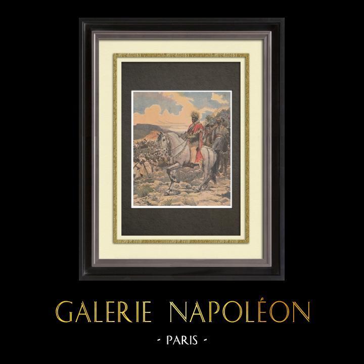 Gravures Anciennes & Dessins | Peinture - Menelik II à la bataille d'Adoua - Ethiopie - Paul Buffet - Salon de 1898 | Gravure sur bois | 1898