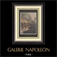 Bagarre Avenue de Wagram - Paris - 1898 | Gravure sur bois imprimée en chromotypographie. Anonyme. Texte au verso. 1898